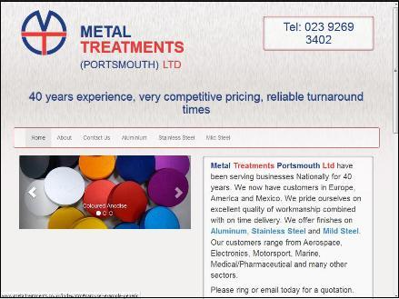 Metal Treatments - responsive website design portsmouth